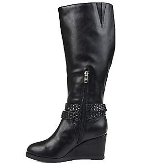 Brinley Co. Comfort Womens Braid Strap Wedge Boot Black, 6 Extra Wide Calf US