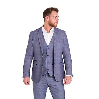 Marc Darcy Harry Check Tweed Suit Blazer met Velvet Contrast