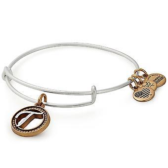 Alex y Ani T inicial bicolor encanto brazalete pulsera - Rafaelian oro y acabado en plata - A18EBINT20TTRS