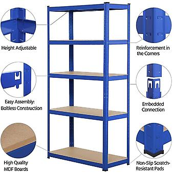 Garage Shelving Units-5 Tier Heavy Duty Rack for Storage Metal Utility Shelves,180cm x 90cm x 40cm,175KG Per Shelf,Blue