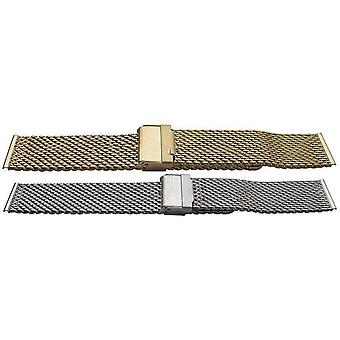 Rowi watch bracelet mesh  open safety clasp  extra long 18mm-22mm