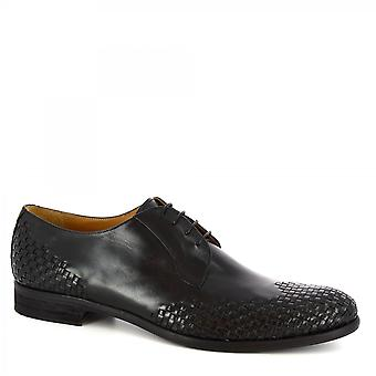 Leonardo Shoes Men's handmade oxford shoes in blue woven calf leather