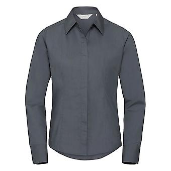 Russell Collection Ladies/Womens Long Sleeve Poly-Cotton Easy Care Fitted Poplin Shirt