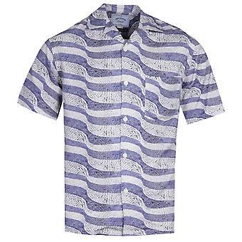 Portuguese Flannel Calçada Portuguesa Blue Stone Path Pattern Short Sleeve Shirt
