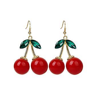 جميل بولافارد فاكهة الكرز الأحمر الإذن الراين كريستال أزياء سحر المرصع