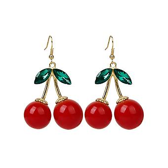 Boolavard Lovely Red Cherry Fruit Ear Stud Crystal Strasszos Divat Charm fülbevaló