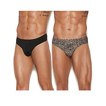Mens Leopard Print and Black Thong Back Underwear Brief