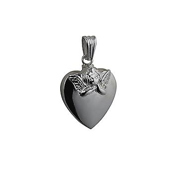 Silver 25x22mm handmade Embossed Angel Heart shaped Memorial Locket