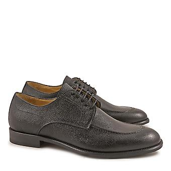 Black leather derby shoes for men Made in Italy