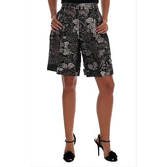 Dolce & Gabbana Gray Floral Brocade High Waist Shorts -- SKI1487920