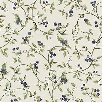 Lazy Sunday Berry Design Wallpaper Cream / Blue Rasch 400816