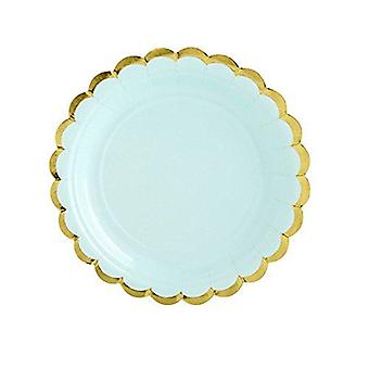 Paper Party Plates MINT GREEN with Gold Scalloped Edge 18cm x 6