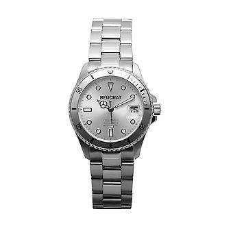 Beuchat Watch BEU1955-5 - Dateur Unidirectional Glass 20 ATM Steel Silver Cadran Nacr Women