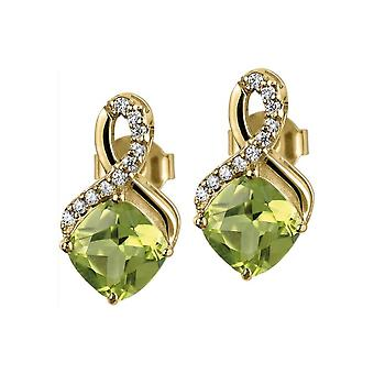 Jacques Lemans - Studs sterling silver plated with peridot - SE-O117G