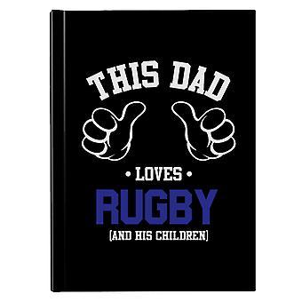 Denne pappa elsker rugby og hans barn hardback journal