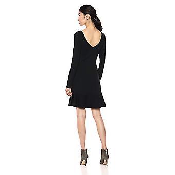 Brand - Lark & Ro Women's Long Sleeve Ruffle Skirt Sweater Dress, Black, Medium