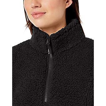 Essentials Womenăs Polar Fleece Lined Sherpa Quarter-Zip Jacket, Negru...