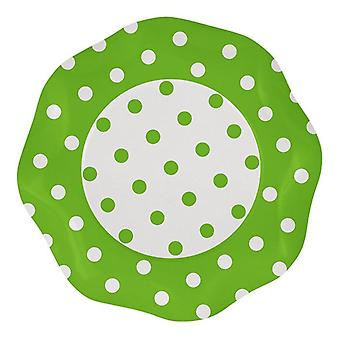 Apple Green Polka Dots 27cm Shaped Paper Party Plates