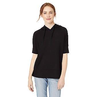 Daily Ritual Women's Supersoft Terry Hooded Short-Sleeve Sweatshirt, Black, X...