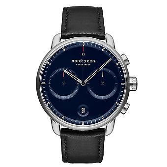 Nordgreen PI42SILEBLNA Blue Dial Black Leather Strap Wristwatch