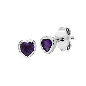 Essential Heart Shaped Amethyst Stud Earrings in 925 Sterling Silver 4.5mm 270E026101925