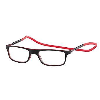 Leesbril Unisex Magneetmagneet Rubber Rood/Zwarte Sterkte +2.50 (le-0180C)