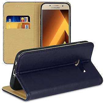 Mobile Case for Samsung Galaxy A3 (2017) Wallet TPU Card Slot Microfiber Blue