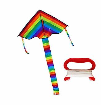 Colorful Rainbow Kite Long Tail Nylon Outdoor Kites Flying Toys For Children Kids (comme photo montre)