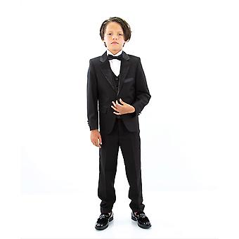 Boys Black Peak Lapel Tuxedo Suit Set