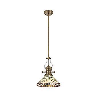 Éclairage Luminosa - 1 pendentif de plafond télescopique léger E27 avec 30cm Tiffany Shade, Laiton antique, Ambre, Cristal