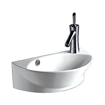 Bassin de montage mural demi-ovale isabella collection avec bol ovale intégré, débordement, trou de robinet unique offset droit et drain central - Blanc