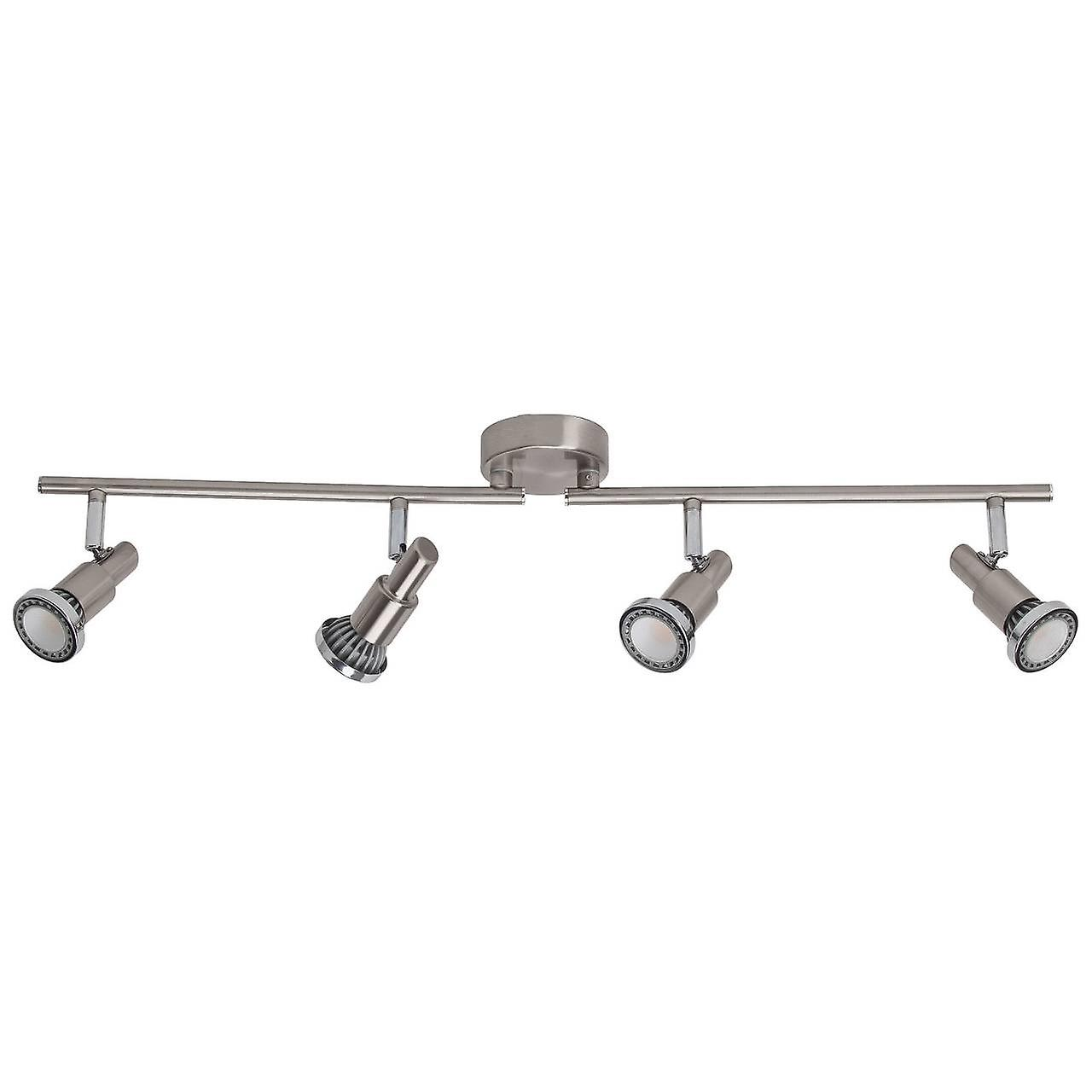 BRILLIANT Lampe Ryan LED Spotrohr 4flg eisen/chrom   4x LED-PAR51, GU10, 5W LED-Reflektorlampen inklusive, (380lm, 3000K)   Skala A++ bis E   Arme drehbar / Köpfe schwenkbar