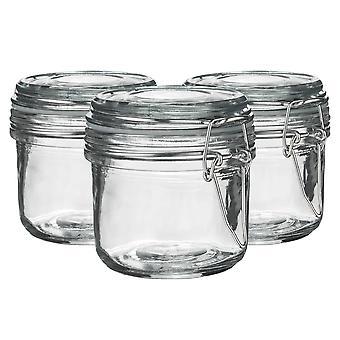 Argon Geschirr Glas Aufbewahrung Sandgläser mit luftdichten Clip Deckel - 200ml Set - klare Dichtung - Packung mit 3