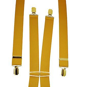Ties Planet Plain Mustard Yellow Men's Trouser Braces - Clip d'oro