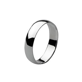 Dew Sterling Silver Band Plain 5mm D Section Ring 2002HP