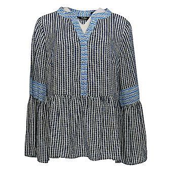 Du Jour Women's Top Split V-Neck Bell Sleeve W/ Ruffle Hem Blue A307046