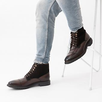 Base London Conrad Mens Leather Brogue Boots Cocoa