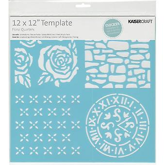 "12x12"" Kaisercraft Designer Template Stencil - Quartiers Floraux"