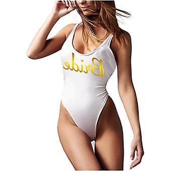 One Piece Swimsuit - High Cut Low Back Bride Squad Swimsuit Bachelorette Party Bridal Shower Wedding Gift (Bride, Medium) White