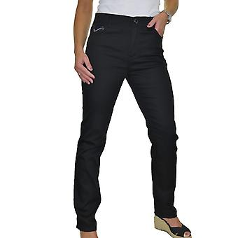 Women's High Waisted Straight Leg Comfy Stretch Chino Jeans Silver Stitch Black 10-20