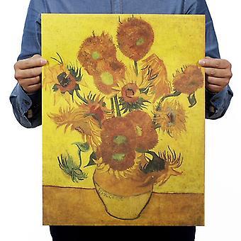 Van Gogh Sunflower Vintage Kraft Paper Classic Movie Poster School / Garage