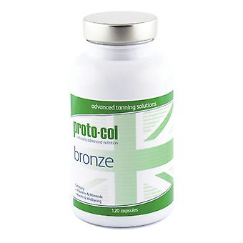 proto-col Bronze 120 Capsules - Tanning Supplement With Vitamins - Supports Melanin Production - Avoid Exposure To UV Rays - With Antioxidants