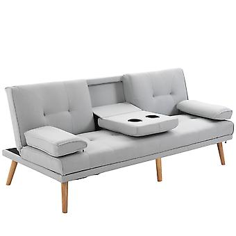 HOMCOM 3 Seater Sofa Bed Scandi Style Recliner Thick Cushions Convertible Adjustable Split Back Middle Table w/ Armrest Cup Holder 72H x 181W x 77Dcm
