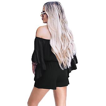 Sleeve Off Shoulder Front Tie Knot Casual Romper