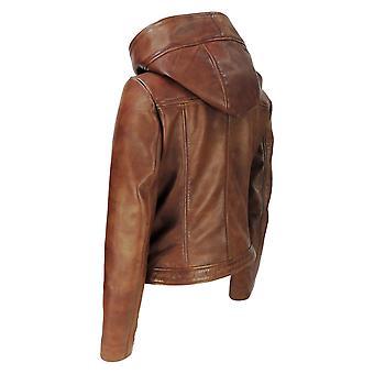Chaqueta de cuero con capucha para mujer
