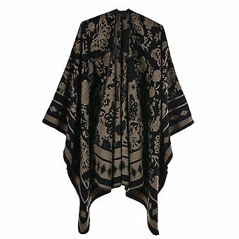 Women's Autumn And Winter Large Size Square Butterfly Black Brown Warm Scarf Blanket Shawl
