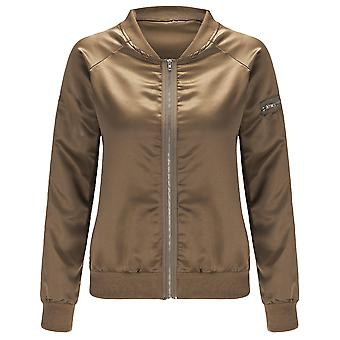 YANGFNA Women's Bomber Baseball Jacket Zip Up Lightweight Classic Coat