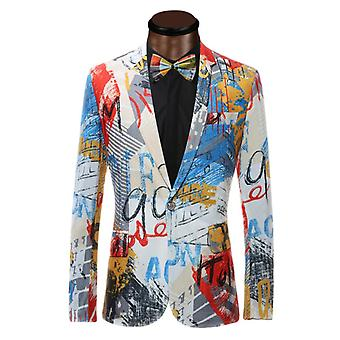 Men Suit Jacket With Fashion Printed Blazers Marriage Best Blaze