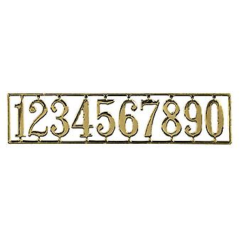 Dolls House Miniature Door Furniture Gold Plated Brass House Numbers Set