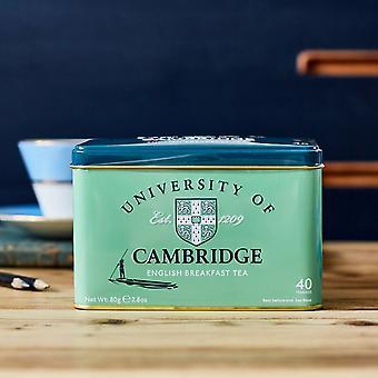 Boîte à thé de l'Université de cambridge avec 40 sachets de thé anglais de petit déjeuner